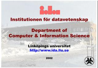 Institutionen för datavetenskap Department of Computer & Information Science