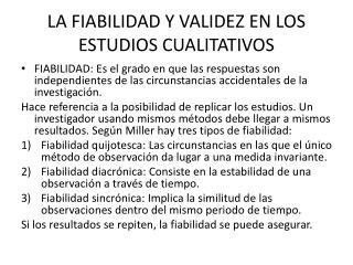 LA FIABILIDAD Y VALIDEZ EN LOS ESTUDIOS CUALITATIVOS
