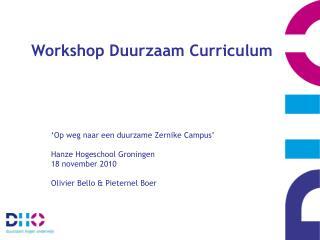 Workshop Duurzaam Curriculum