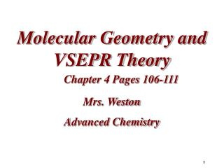 Molecular Geometry and VSEPR Theory