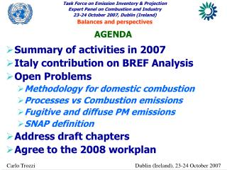Summary of activities in 2007 Italy contribution on BREF Analysis Open Problems