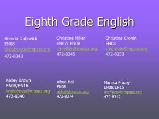 Eighth Grade English