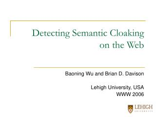 Detecting Semantic Cloaking