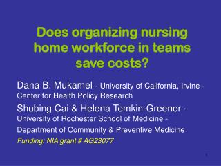 Does organizing nursing home workforce in teams save costs?