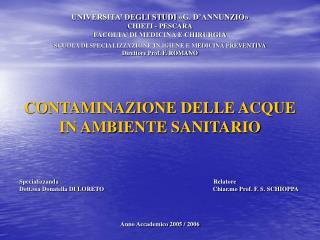UNIVERSITA  DEGLI STUDI  G. D ANNUNZIO  CHIETI - PESCARA FACOLTA  DI MEDICINA E CHIRURGIA