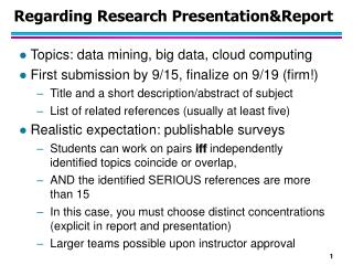 Regarding Research Presentation&Report