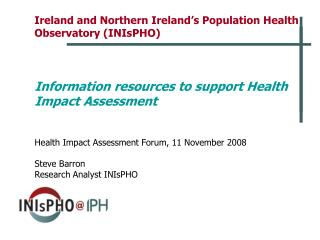 Ireland and Northern Ireland's Population Health Observatory (INIsPHO)