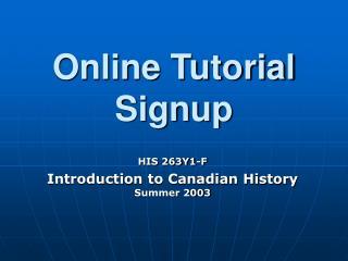 Online Tutorial Signup