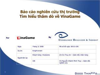 Báo cáo nghiên cứu thị trường Tìm hiểu thăm dò về VinaGame