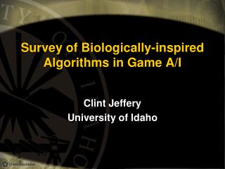 Survey of Biologically-inspired Algorithms in Game A/I