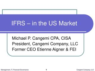IFRS � in the US Market