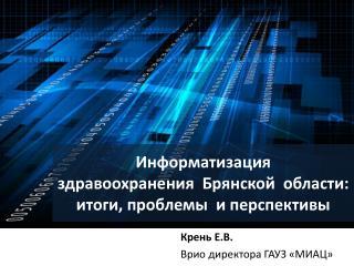 Информатизация здравоохранения Брянской  области: итоги, проблемы  и перспективы