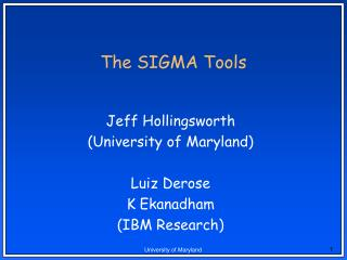 The SIGMA Tools