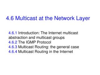 4.6 Multicast at the Network Layer