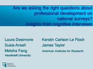 Are we asking the right questions about professional development on  national surveys Insights from cognitive interviews