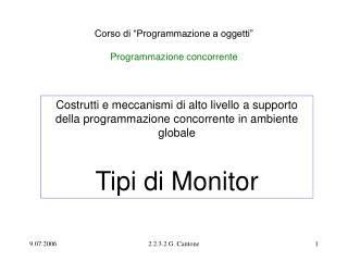 """Corso di """"Programmazione a oggetti"""" Programmazione concorrente"""