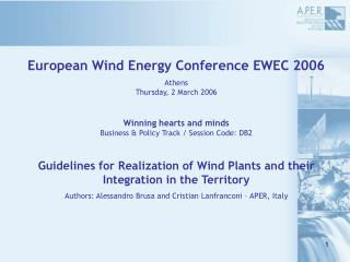European Wind Energy Conference EWEC 2006 Athens Thursday, 2 March 2006