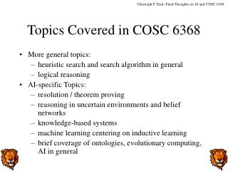 Topics Covered in COSC 6368