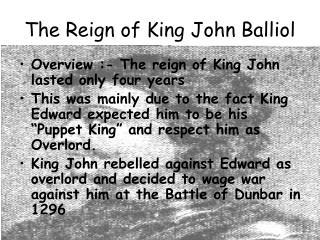 The Reign of King John Balliol
