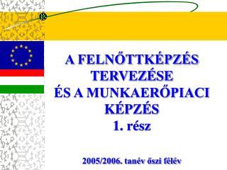 A FELNŐTTKÉPZÉS TERVEZÉSE  ÉS A MUNKAERŐPIACI KÉPZÉS 1. rész 2005/2006. tanév őszi félév
