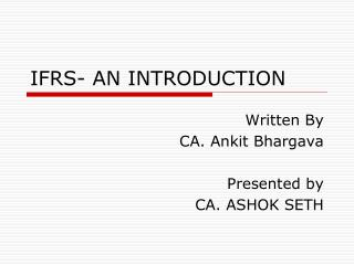 IFRS- AN INTRODUCTION