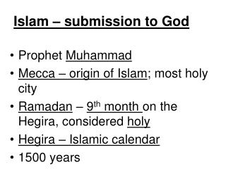 Islam – submission to God