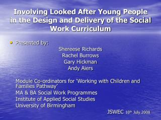 Involving Looked After Young People in the Design and Delivery of the Social Work Curriculum