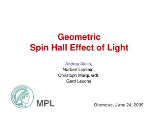 Geometric  Spin Hall Effect of Light