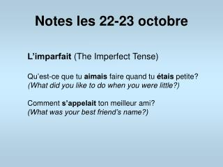 Notes les 22-23 octobre