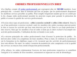 ORDRES PROFESSIONNELS EN BREF