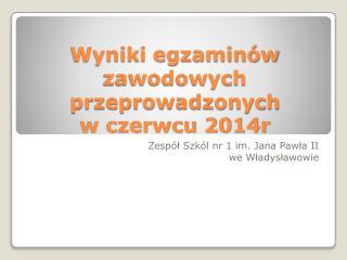 Wyniki egzaminów zawodowych przeprowadzonych  w czerwcu 2014r