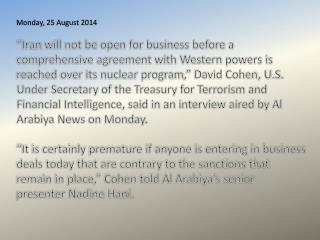 Monday, 25 August  2014