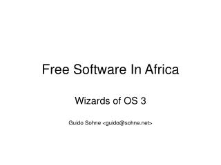 Free Software In Africa