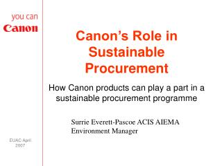 Canon�s Role in Sustainable Procurement