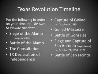 Texas Revolution Timeline
