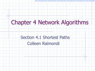 Chapter 4 Network Algorithms
