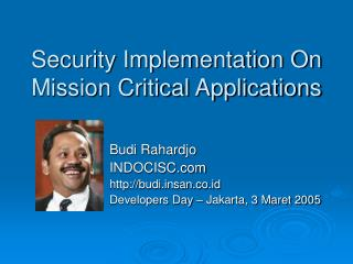 Security Implementation On Mission Critical Applications