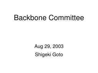 Backbone Committee