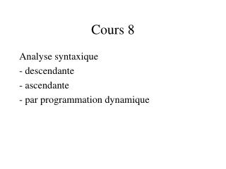 Cours 8