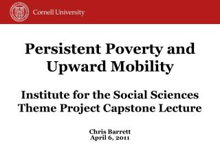 Persistent Poverty and Upward Mobility