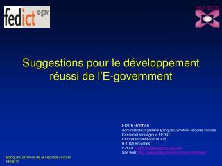 Suggestions pour le développement réussi de l'E-government