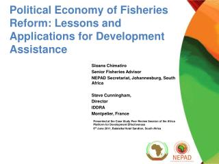 Political Economy of Fisheries Reform: Lessons and Applications for Development Assistance