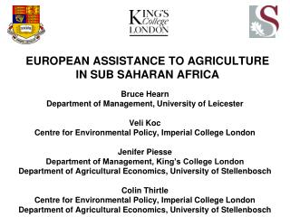 EUROPEAN ASSISTANCE TO AGRICULTURE IN SUB SAHARAN AFRICA