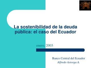 La sostenibilidad de la deuda p blica: el caso del Ecuador