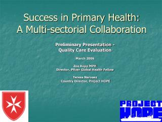 Success in Primary Health: A Multi-sectorial Collaboration
