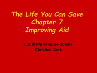 The Life You Can Save Chapter 7 Improving Aid