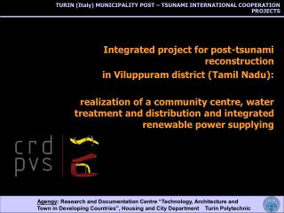 TURIN (Italy) MUNICIPALITY POST – TSUNAMI INTERNATIONAL COOPERATION PROJECTS