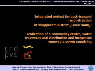 TURIN (Italy) MUNICIPALITY POST – TSUNAMI INTERNATIONAL COOPERATION PROJECTS