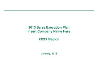 2013 Sales Execution Plan Insert Company Name Here XXXX Region January, 2012