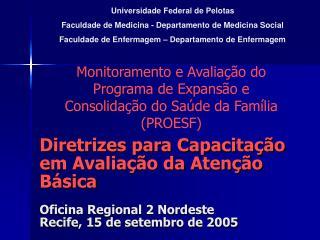 Universidade Federal de Pelotas Faculdade de Medicina - Departamento de Medicina Social